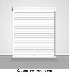 Realistic Detailed 3d Template Blank White Warehouse Shutter Door. Vector
