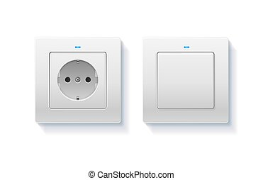 Realistic Detailed 3d Wall Switch and Power Electrical Socket. Vector