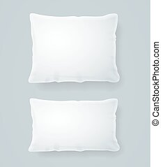 Realistic Detailed 3d White Pillows Set. Vector