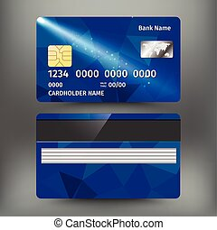 realistic detailed credit card with abstract geometric blue design isolated on white background vector illustration