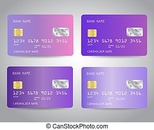 Realistic detailed credit cards set with colorful abstract ...