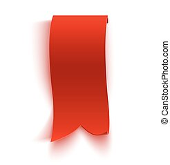 Realistic detailed curved red paper banner, ribbon isolated on white background