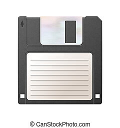Realistic detailed floppy-disk, retro object isolated on white