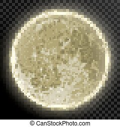 Realistic detailed full moon isolated on transparent background. EPS 10 vector