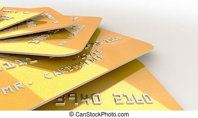 """""""3d rendering of Realistic detailed gold credit cards with bright abstract gold design"""""""