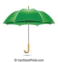 Realistic Detailed Green Umbrella. Vector EPS10 Illustration