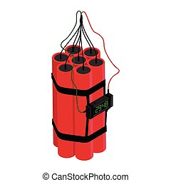 Realistic Detailed Isometric Red Detonate Dynamite Bomb Stick and Timer Clock