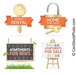 Realistic Detailed Real Estate Signs Set. Vector