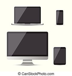 Realistic device flat Icons: smartphone, tablet, laptop and desktop computer. Vector illustration on white background