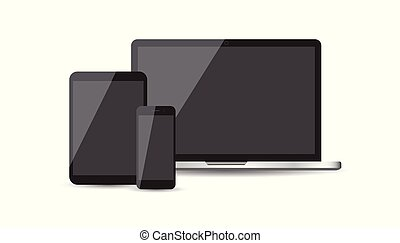 Realistic device flat Icons: smartphone, tablet, laptop. Vector illustration on white background