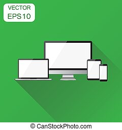 Realistic device icon. Business concept smartphone, tablet, laptop and desktop computer pictogram. Vector illustration on green background with long shadow.