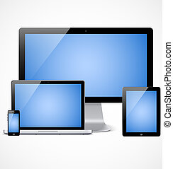 Realistic devices set template with blue screen - Set of ...
