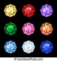 Realistic Diamond Gemstone Icon Set
