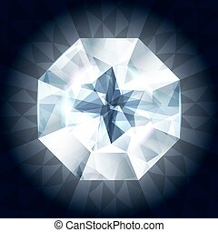 Realistic diamond in top view on shiny background.