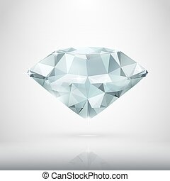 Realistic Diamond Isolated On White
