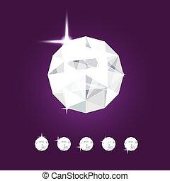 Realistic diamond jewel. Vector Gem illustration.