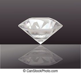 Realistic Diamond Vector Illustration . Jewelry. Isolated On Dark background