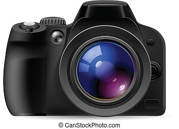 Realistic digital camera. Illustration on white background