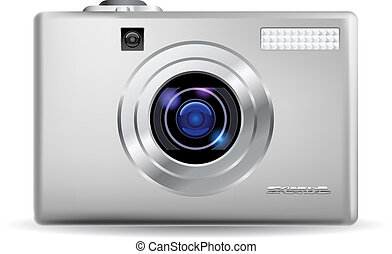 Realistic digital camera - Simple digital camera. ...