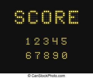 Realistic digital scoreboard font set, vector illustration