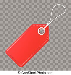 Realistic discount red tag for sale promotion. Vector vintage label template.