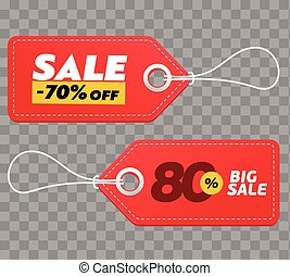 Realistic discount red tags isolated on checkered background. Big sale promotion. Vector vintage label set.