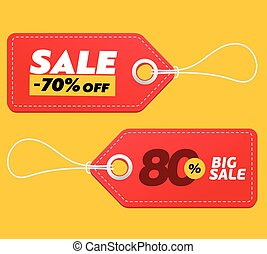 Realistic discount red tags isolated on yellow background. Big sale promotion. Vector vintage label set.