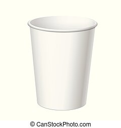 Realistic Disposable Plastic Cup - Realistic White...