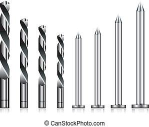 Realistic drill bit and steel nail set
