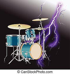 Realistic Drum kit Background 3