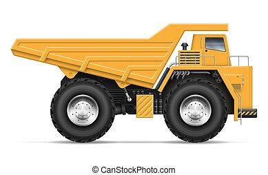 Realistic dump truck vector illustration