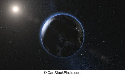 Realistic Earth, rotating in space. Day and night