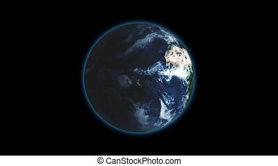 Realistic Earth Rotating on black background Loop . Globe is centered in frame, with correct rotation in seamless loop.