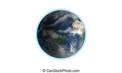 Realistic Earth Rotating on White Loop . Globe is centered in frame, with correct rotation in seamless loop.
