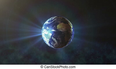 Realistic Earth Rotating with sun rays, The World Spinning