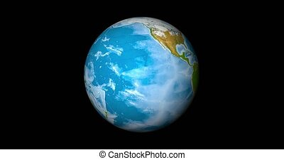 Realistic Earth Globe focused on equator. Planet with lands, water and atmosphere. 3D object rendered looping footage. 240 seconds long - 10 seconds is 1 hour in real. Elements of this image furnished by NASA