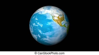 Realistic Earth Globe focused on northern hemisphere. Planet with lands, water and atmosphere. 3D object rendered looping footage. Elements of this image furnished by NASA