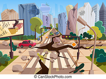 Realistic earthquake with ground crevices in cartoon ruined...