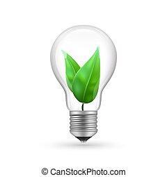 Realistic eco light bulb isolated on white background. Energy economy lamp vector illustration
