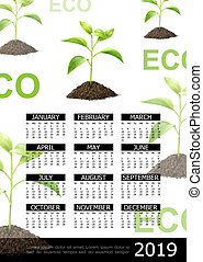 Realistic Ecology 2019 Year Calendar Concept