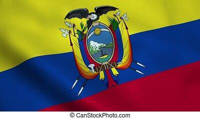 Realistic Ecuador flag