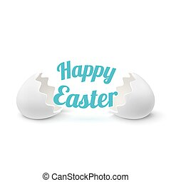 Realistic egg shell icon, isolated on white background.