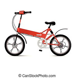 Vector illustration of Realistic electric bicycle isolated on white. Modern eco two wheel vehicle for sport or urban city ride.