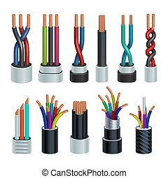 Realistic electric industrial cables, electrical copper wires vector set isolated