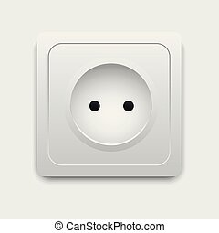 Realistic electric outlet. Power socket. Vector.