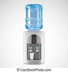 Realistic Electric Water Cooler with plastic glass. Vector...