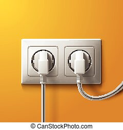 Realistic electric white socket and 2 plugs on yellow wall backg