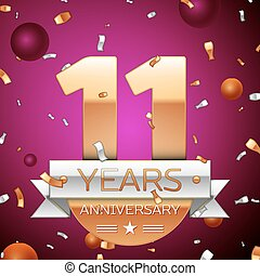 Realistic Eleven Years Anniversary Celebration Design. Golden numbers and silver ribbon, confetti on purple background. Colorful Vector template elements for your birthday party