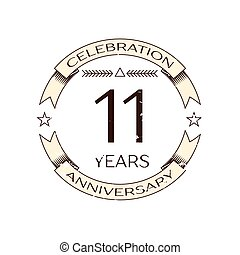 Realistic eleven years anniversary celebration logo with ring and ribbon on white background. Vector template for your design