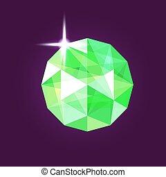Realistic emerald jewel. Gem. Vector illustration.